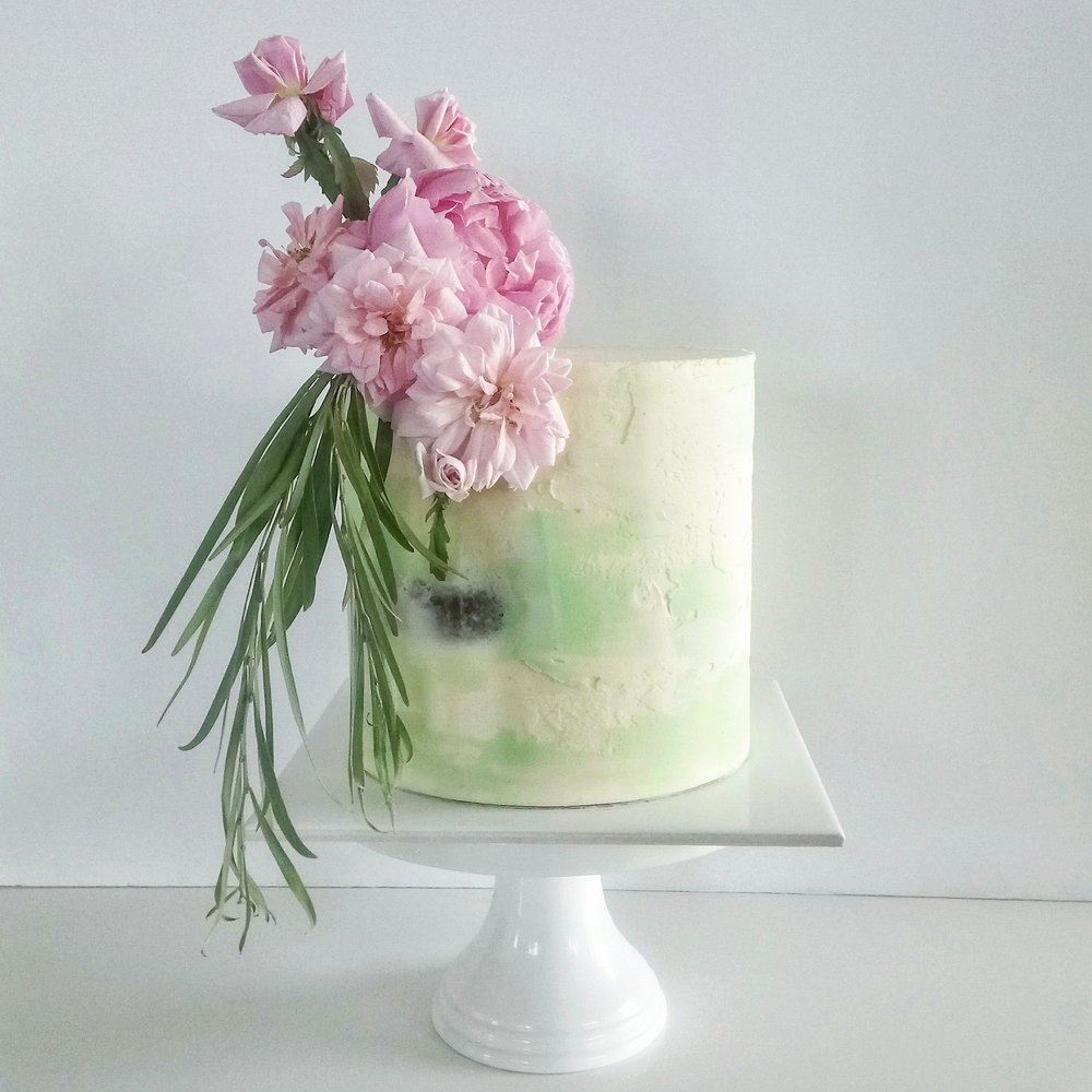 Rebecca Jane Sugar Art - pink and green textured buttercream with fresh flowers cake