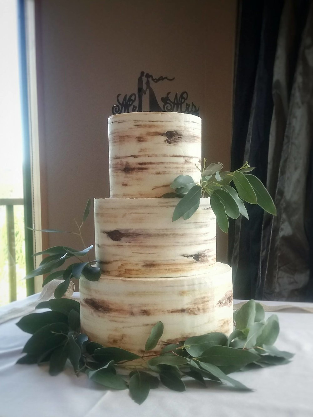 Rebecca Jane Sugar Art - buttercream birch tree wedding cake with greenery