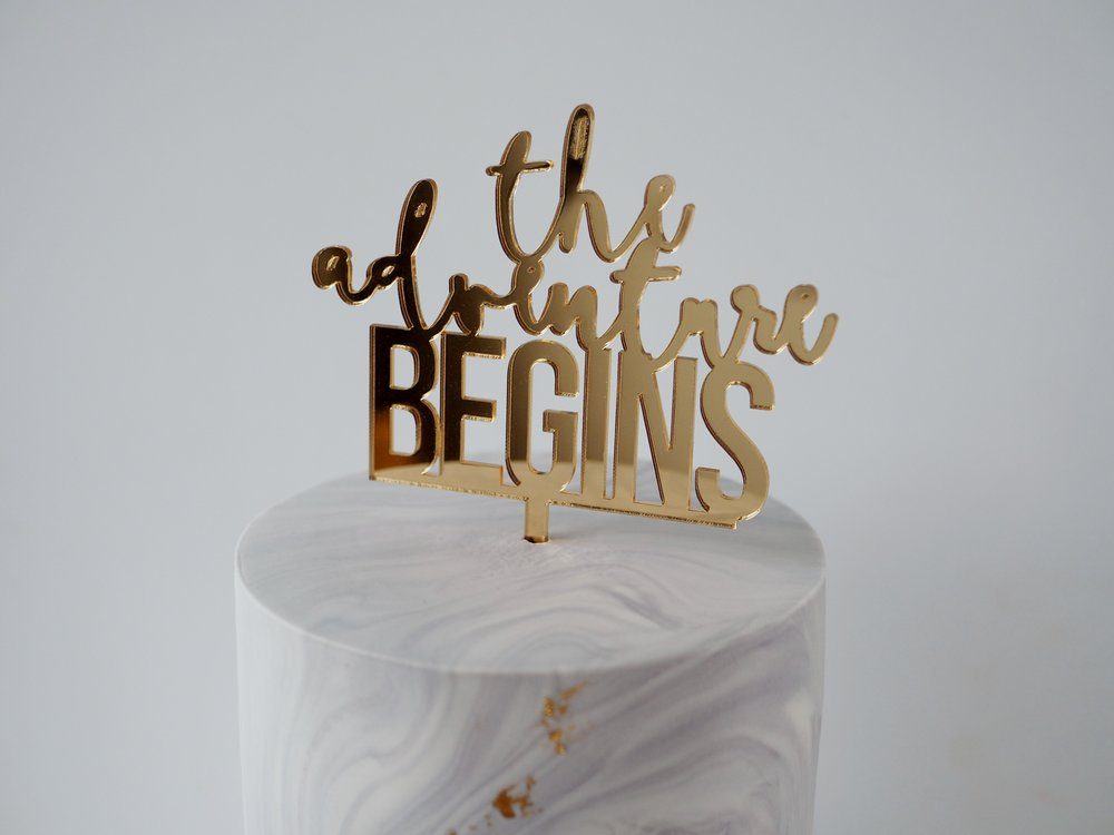 Rebecca Jane Sugar Art - marble cake with acrylic topper