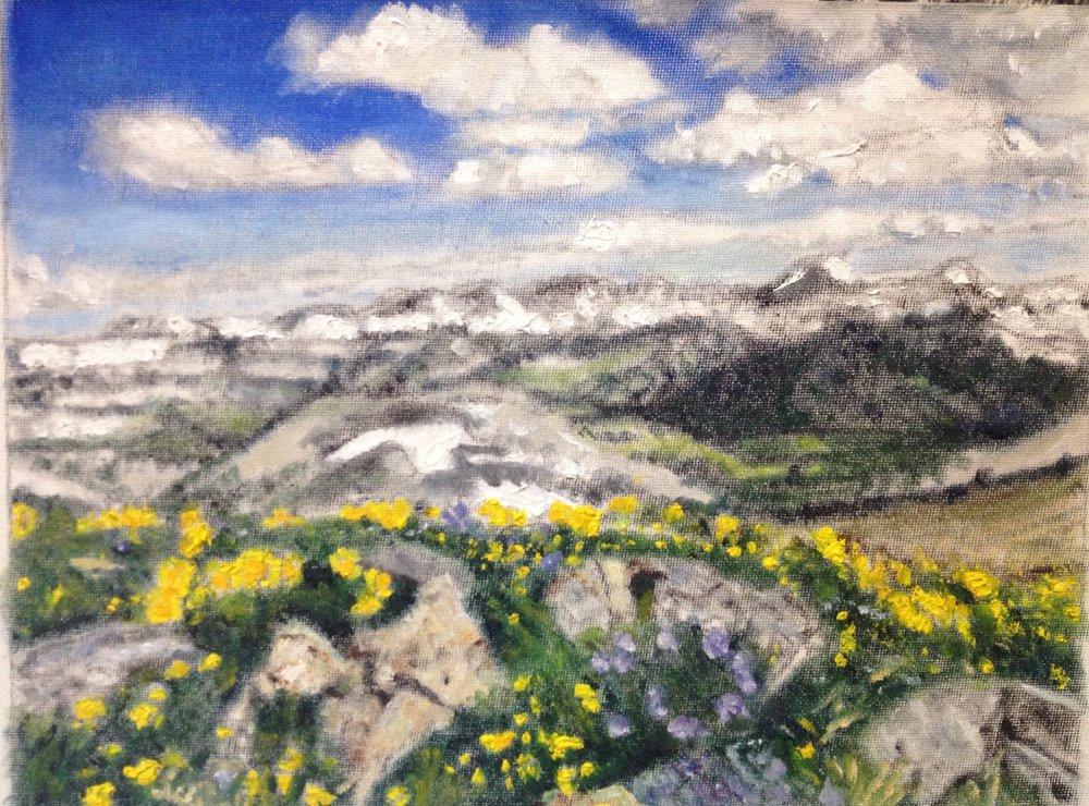 Oil Sketch of Grand Tetons