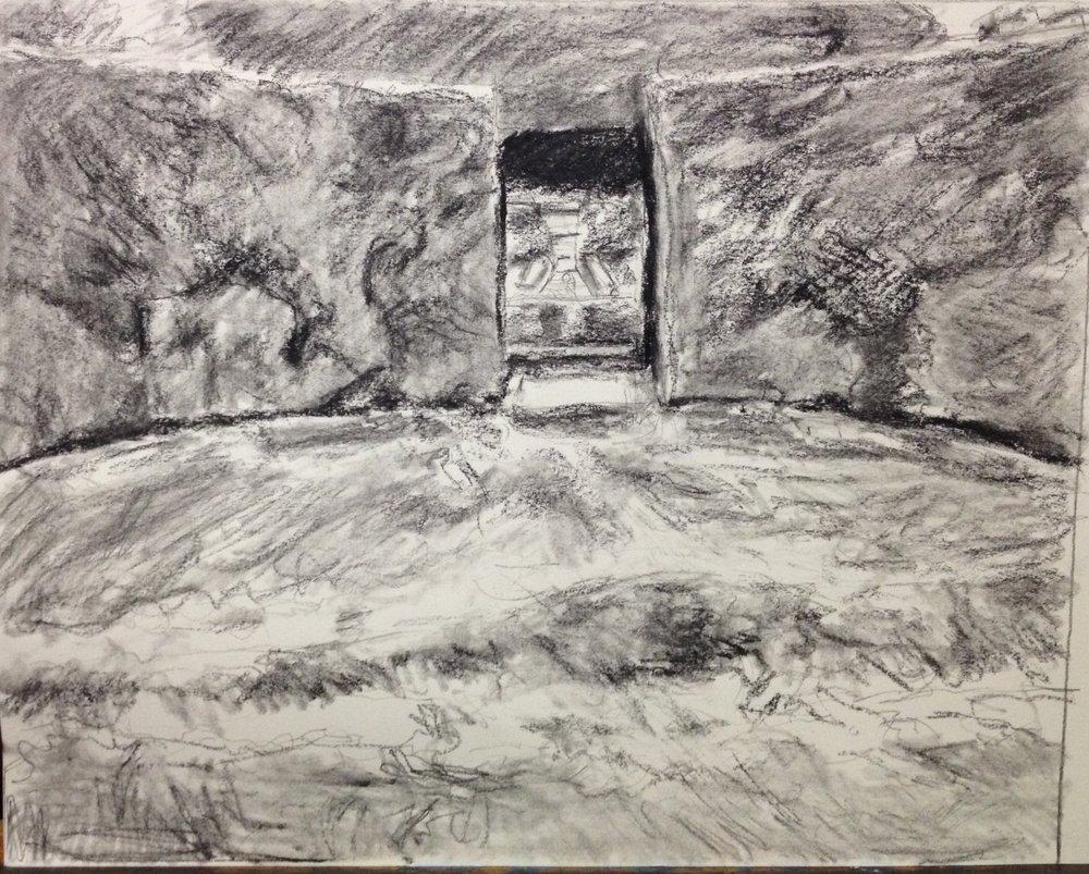Sketch of Hidcote garden room looking into fountain
