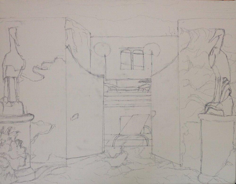 Sketch on canvas: Longborough