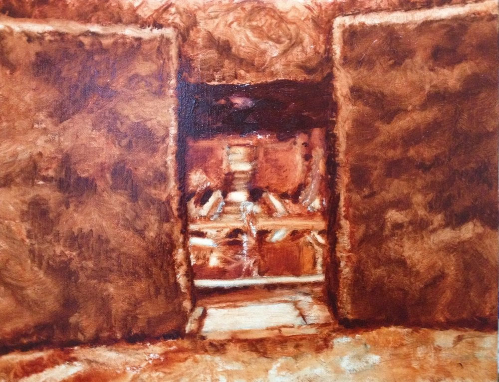 Underpainting: Hidcote room into fountain