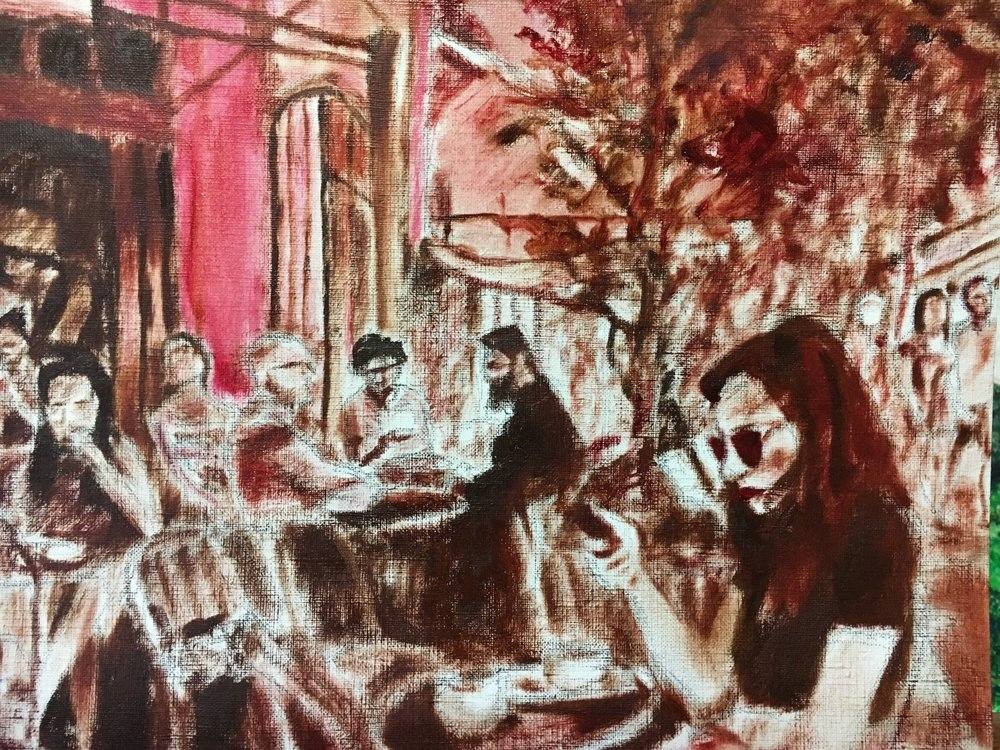 Underpainting of Study for Cafe Life at place Edmond Rostand