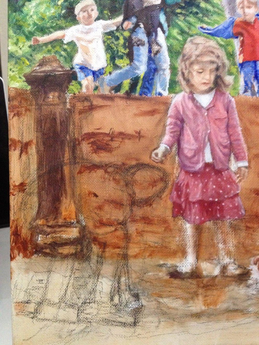 Kid in mud sketched in