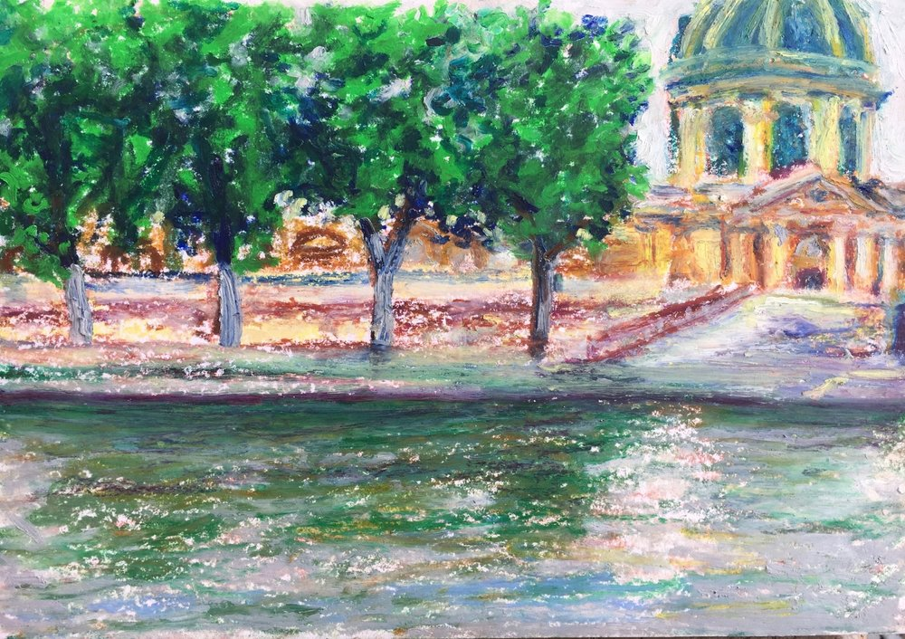 Sunday Morning Along Seine (Oil Pastel 6x9 in - June 10 2018)
