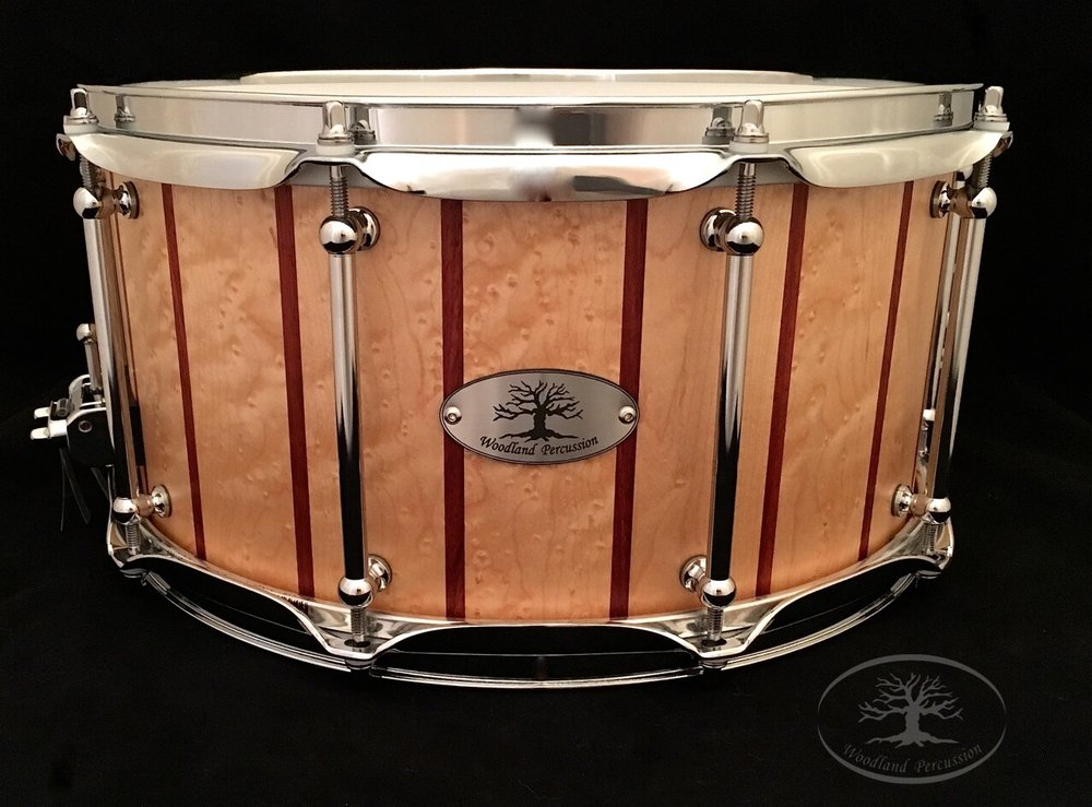 14x7x1/2 Birdseye Maple with Padauk stripes   Chrome Hardware with a Natural Oil finish