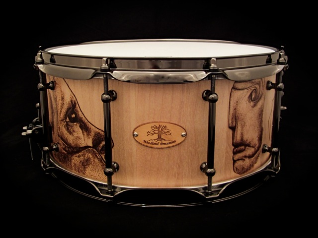 """Schism"" Snare  14x6.5x3/4"" Birch  Custom built for Donald Pusateri of Schism Tool tribute band  Pyrography Artwork by Justn Holcombe and Brad Newlin Jr."
