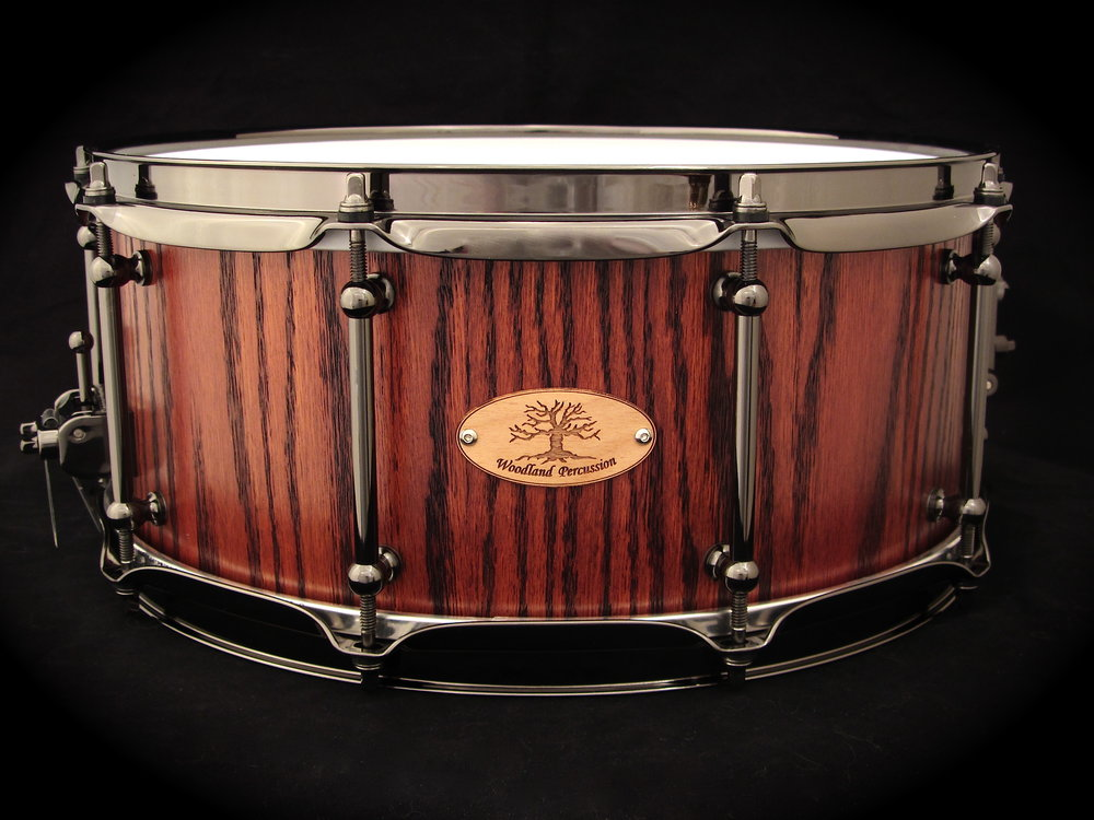14x6x1/2 Curly Red Oak  Black chrome hardware with Aged Oak Stain Finish