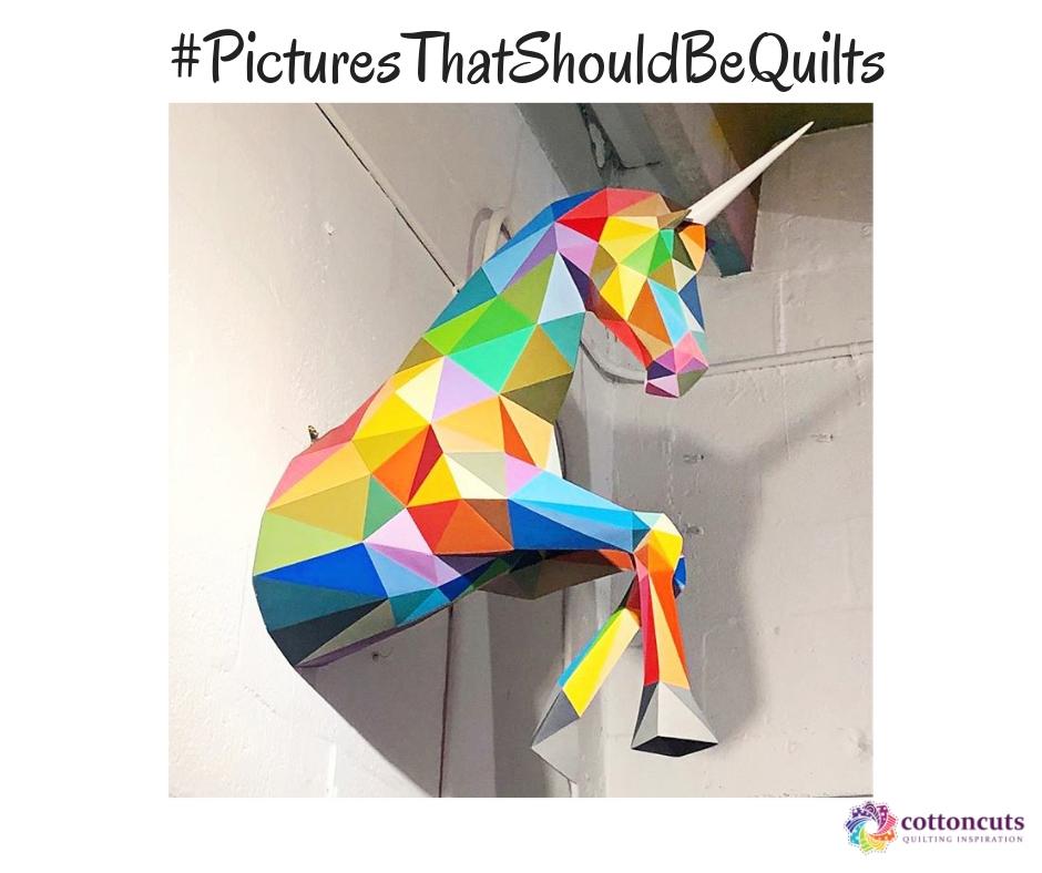 Pictures That Should Be Quilts - Geometric Rainbow Unicorn Sculpture