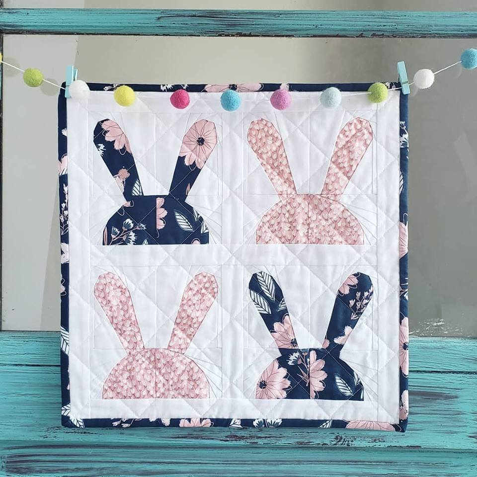 Paper Pieced Bunny Quilt made with Cotton Cuts Classic Box Pink and Navy Metallic Fabric