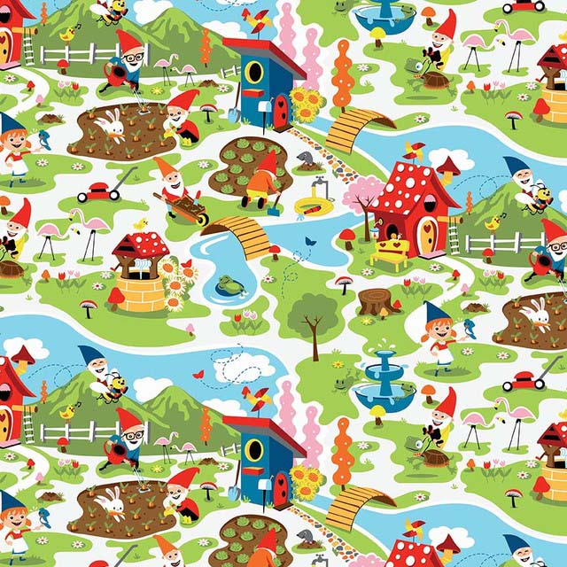 Gnomes and Garden Fabric by Shawn Wallace for Riley Blake Designs