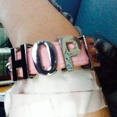 Angel received this bracelet shortly after she was diagnosed. She never took it off.