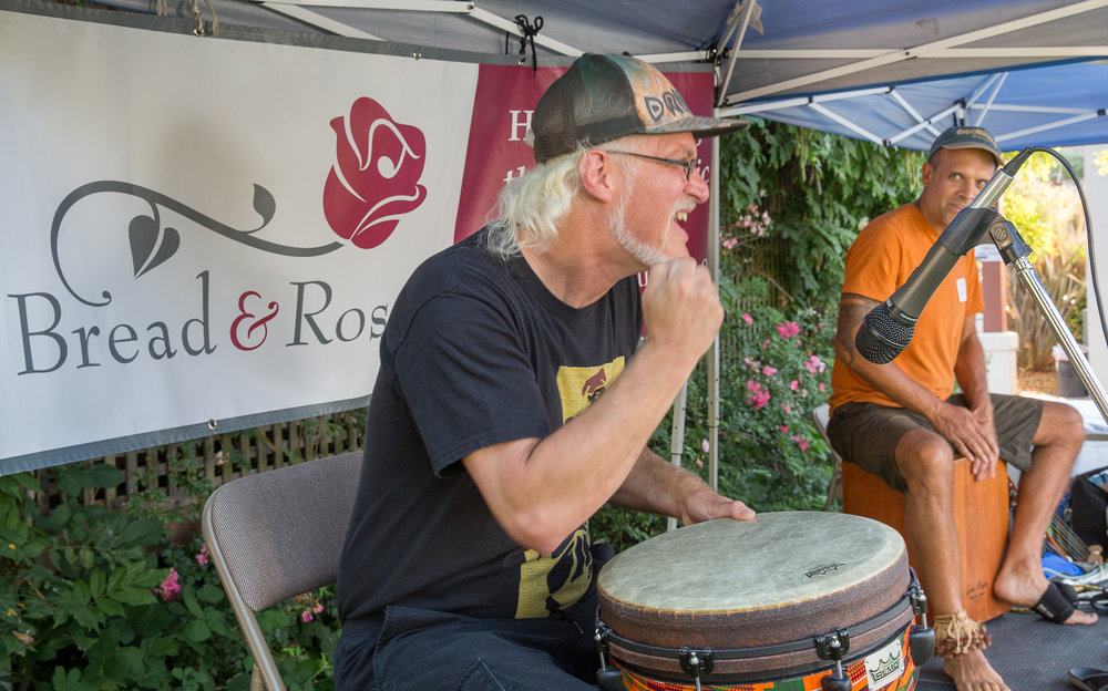 Ian on Djembe w/ Gabe Harris at Bread & Roses JAM
