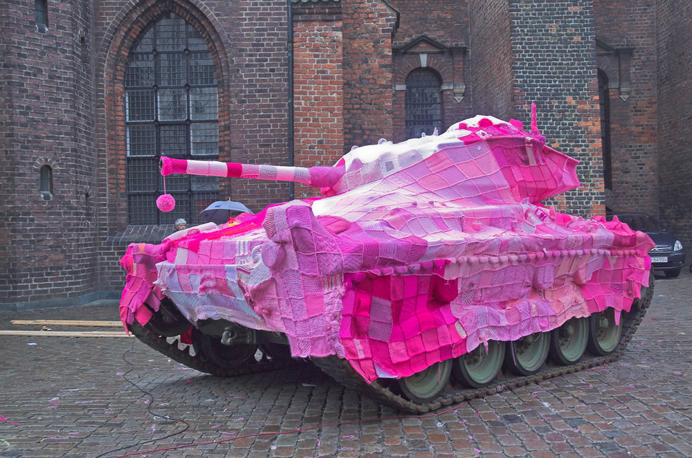 Image: Pink Tank by Marianne Jørgensen, Aarhus, Denmark.  A protest against the Iraq war.
