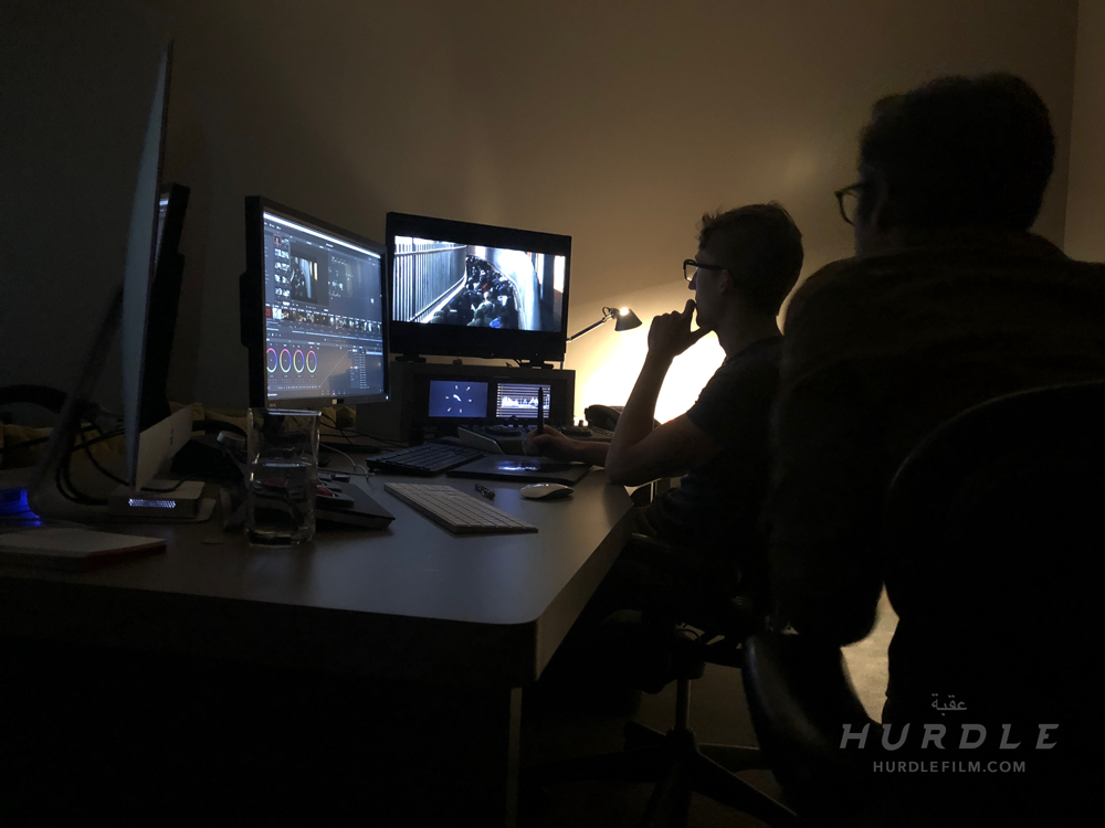 Director Michael Rowley (right) and Colorist Neil Anderson (left) work through a color session Hurdle.