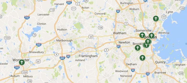 Ethiopian Churches in Greater Boston map Emmanuel Gospel Center