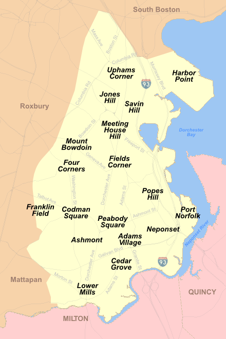Sometimes divided into North Dorchester and South Dorchester, this massive area of Boston includes many sub-neighborhoods, shown above. Grove Hall, Glover's Corner, and St. Marks also are sometimes identified as sub-neighborhoods of Dorchester.