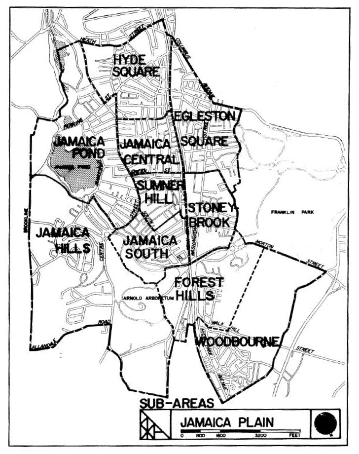 Map of Jamaica Plain showing sub-neighborhoods.Boston Redevelopment Authority, Jamaica Plain District Profile …, Boston, 1979, 5