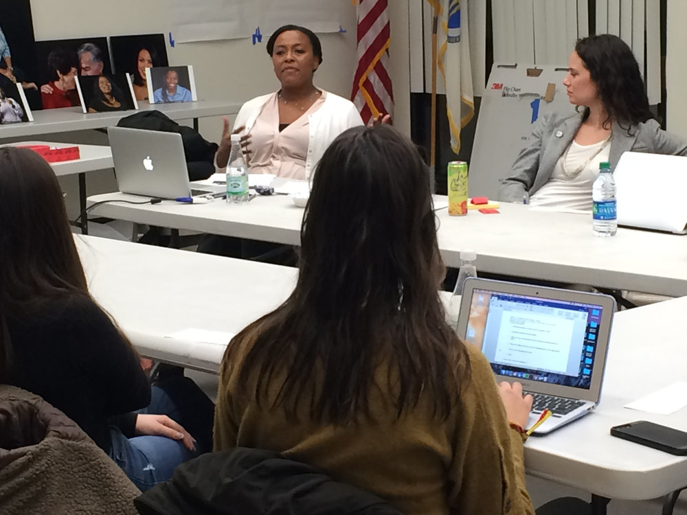 SOMERVILLE, MA - Nika Elugardo (left) and Stacie Mickelson (right), former and current Directors, respectively, of EGC's Applied Research and Consulting co-facilitating a mental health care focus group with Somerville residents.