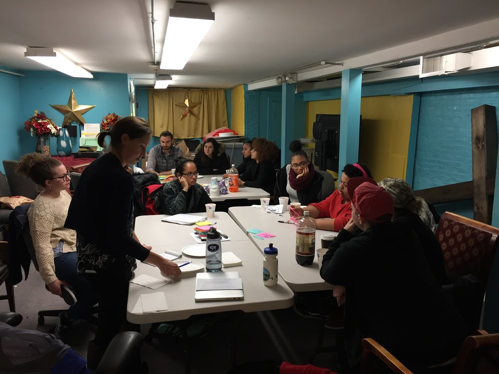 Teens of the Making Youth Voices Heard program meeting with students of Boston College School of Social Work at CrossTown Church in Roxbury, MA, February 2018.