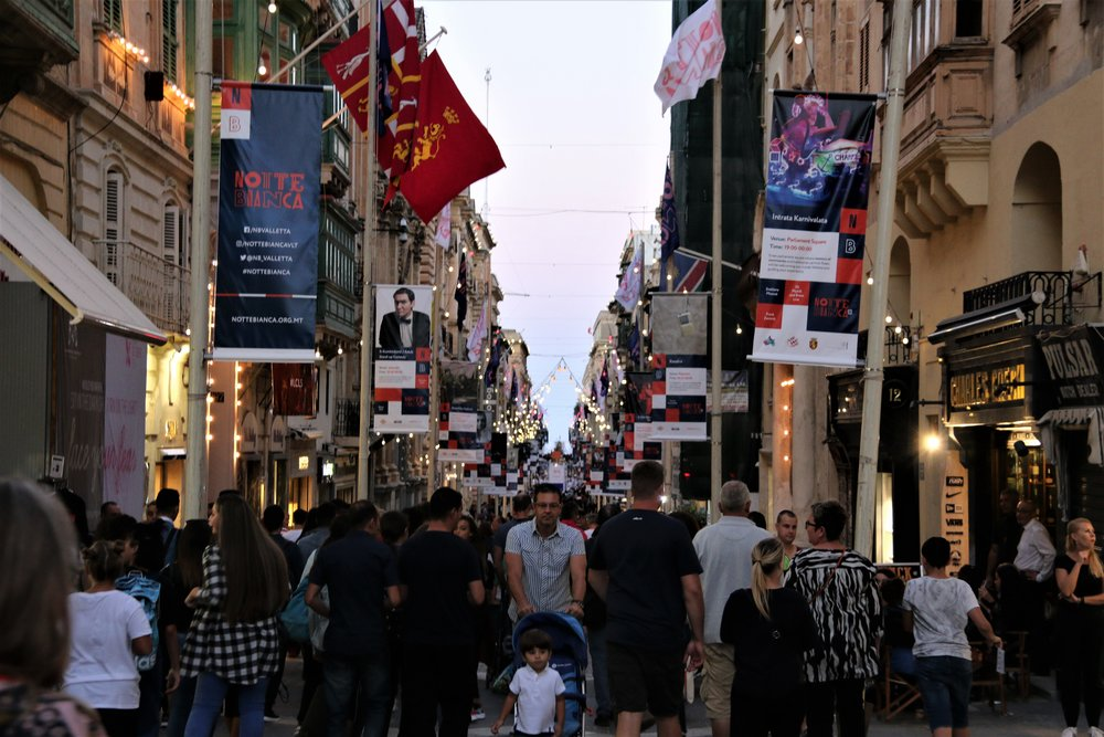 NOTTE BIANCA - 5 OCTOBER 2019Under the artistic direction of Antoine FarrugiaNotte Bianca, Malta's beloved nightlong arts and culture festival sees the capital's streets and cultural venues come alive thanks to a carefully designed programme of events offering a variety of entertainments and experiences.