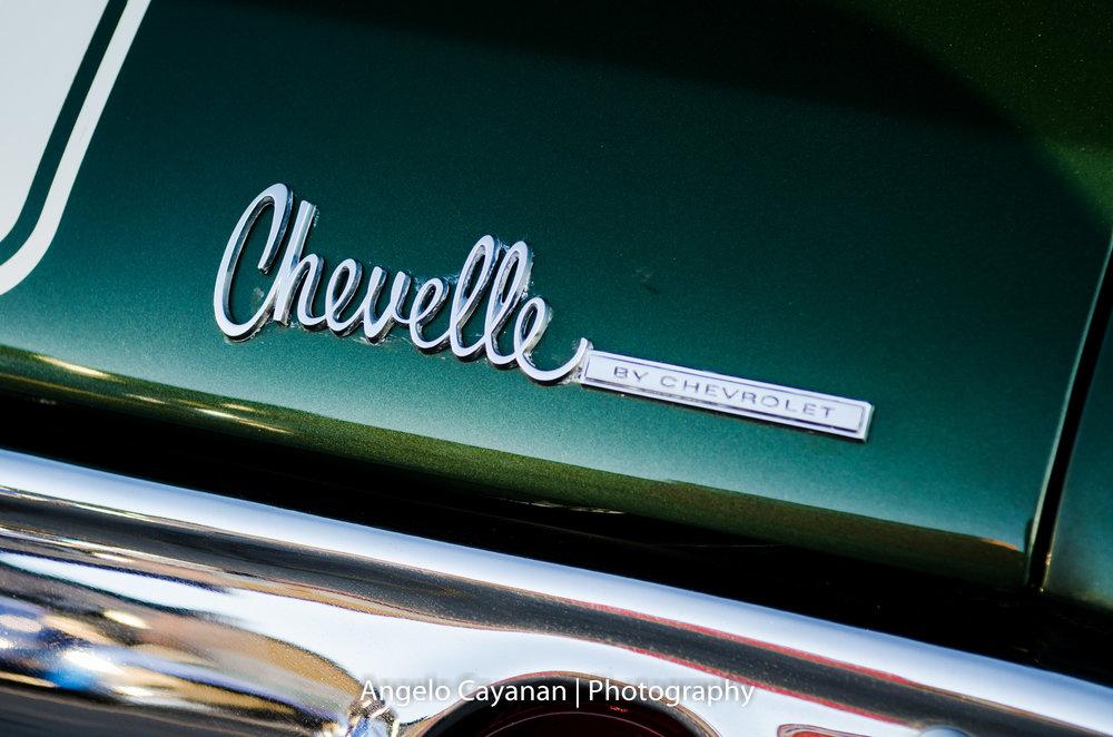 Green '70s Chevelle SS trunk logo