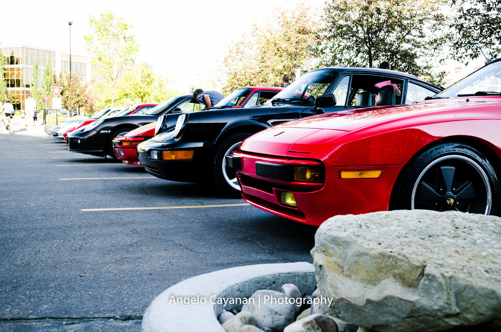 Front shot of a row of classic Porsche's in the Euro Coffee and Cars meet. June 7, 2016