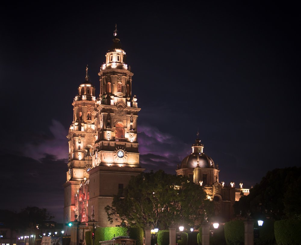 The Cathedral in downtown Morelia, Michoacan
