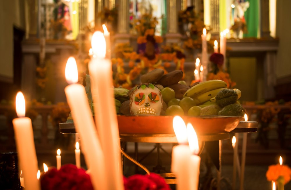 Altar full of offerings in a cathedral in Janitzio, Michoacan.