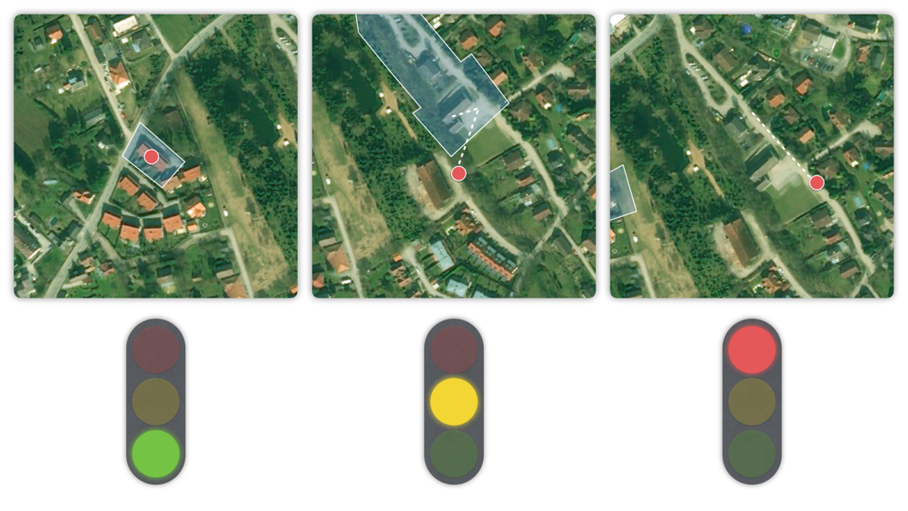This image shows three different states of the 'Red alert' prototype. In the first image the person might be visiting their sister. In the second image they might just take a different route home but are still close to their familiar surrounding and the system might learn to identify this way as normal in the future if used more regularly. The third image might show an instance of wandering and would need outside intervention.
