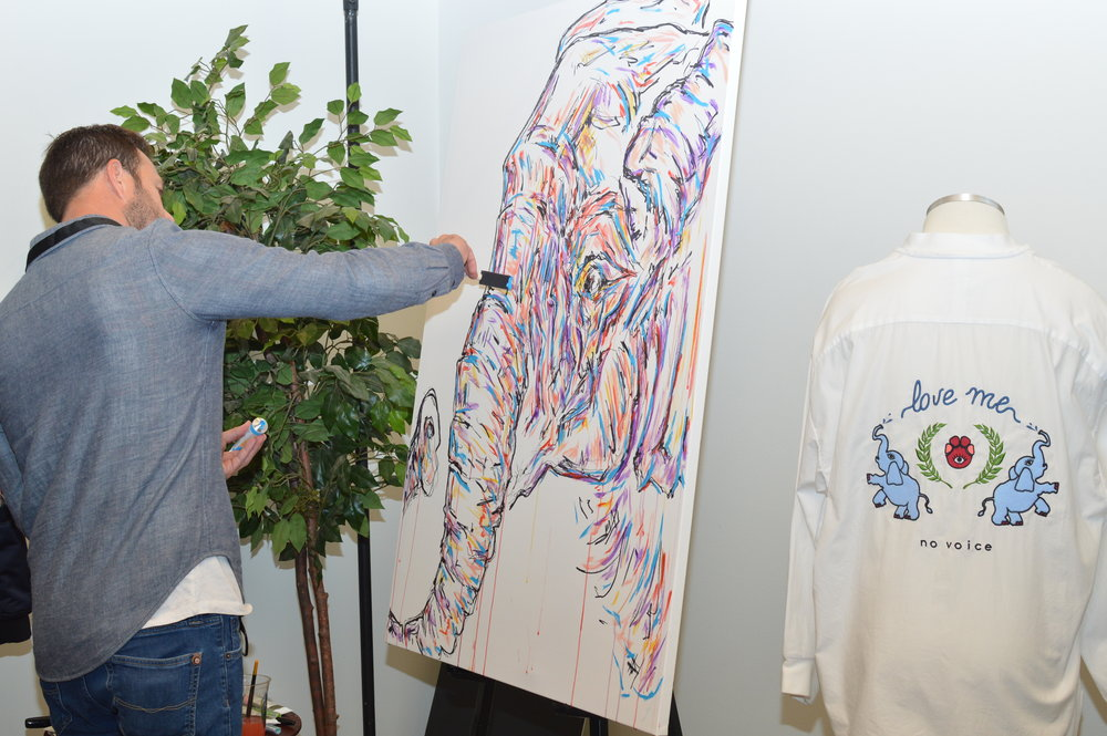 "Live painting and life-sized ""Roaming Elephant"" mural by Matt Shapira."