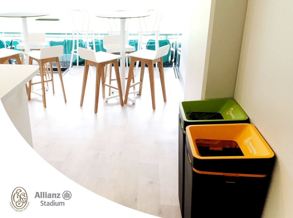 Our Method organics and plastics recycling bins looking sleek in the corporate box.