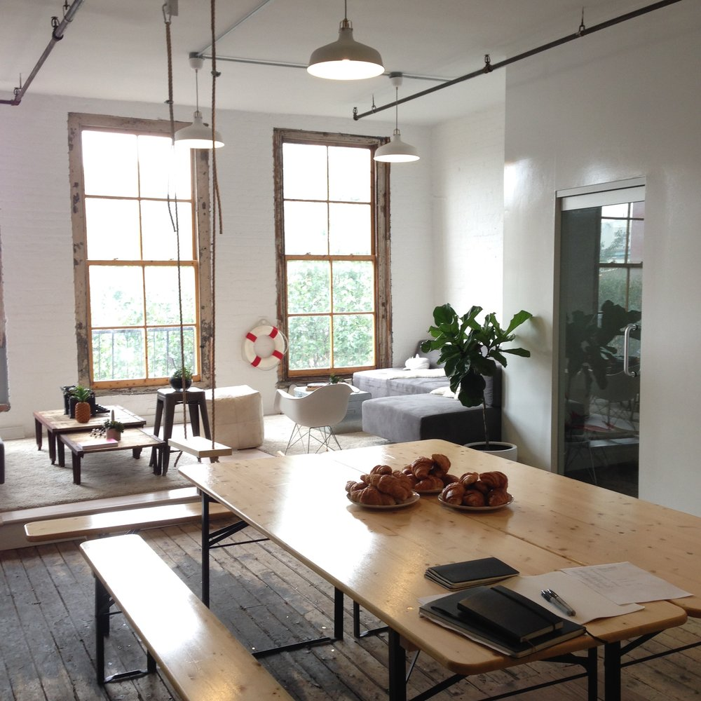 Common area at Friends Work Here, a coworking space for creatives in Brooklyn NY