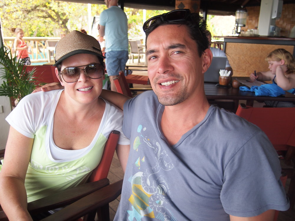 Fran and Matt kicking back on Castaway Island, Fiji