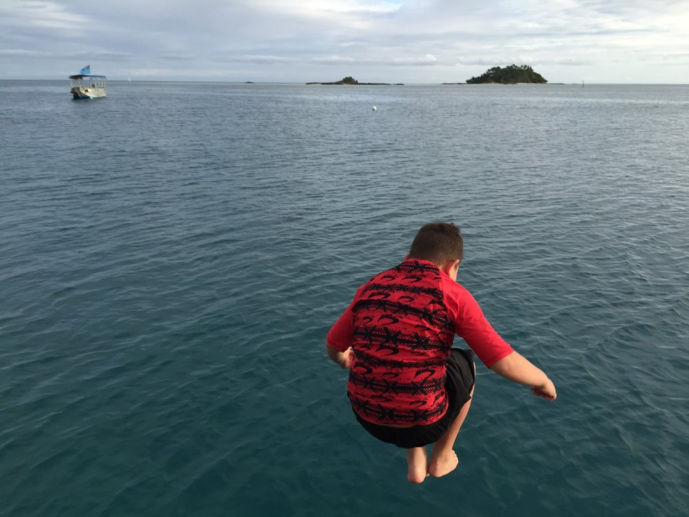Taine jetty jumping at Malolo Island Resort, Fiji