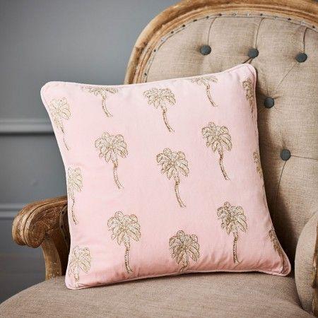 Image:  Graham and Green Palmier Rose  Velvet Cushion