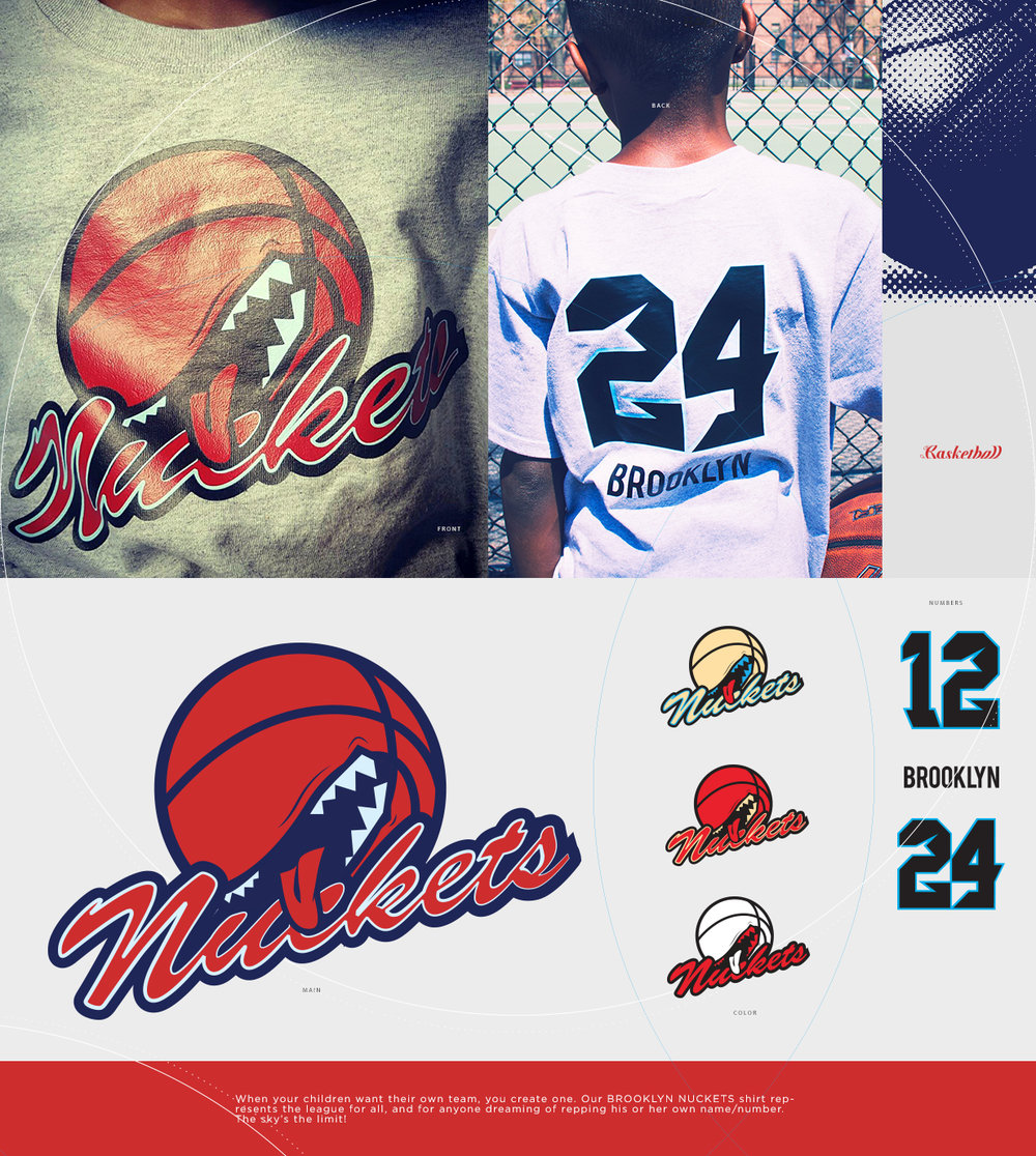 BROOKLYN NUCKETS BASKETBALL TEE  When your children want their own team, you create one. Our BROOKLYN NUCKETS tee represents the league for all, and for anyone dreaming of repping their own number. The sky's the limit!