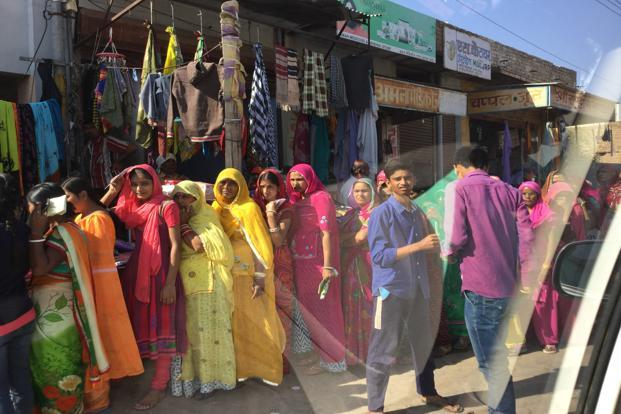 Article first published on livemint.com Queue outside a bank in Bikaner. Photo: Sandip Ghose