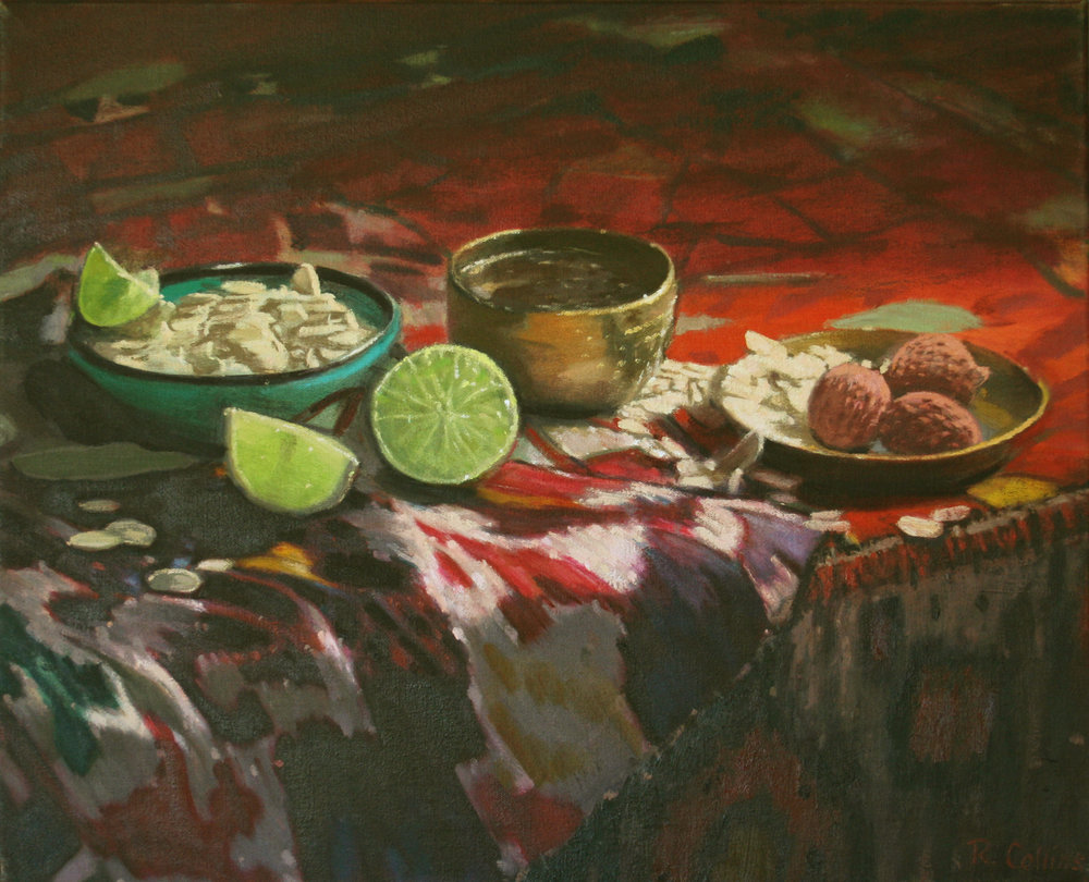 Light shining through the flesh of limes, reflected from the surface of brass, glistening in liquid honey, on almonds and lychees and Central Asian Ikat fabric.