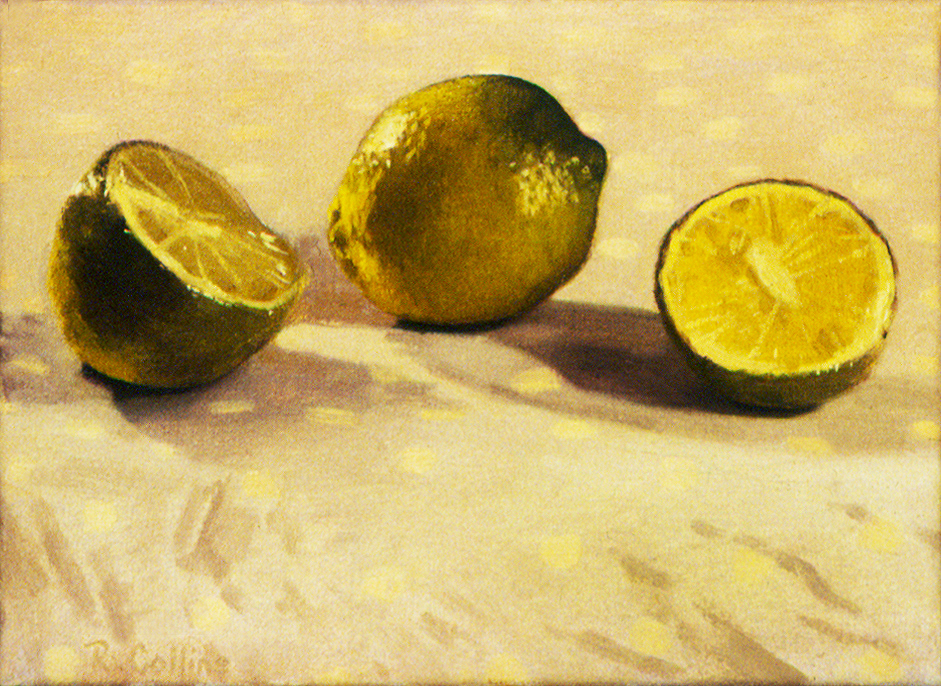 A deceptively simple composition of limes on a spotted paper bag. I had to work quickly as the hot lights were pulled in very close to create glistening textures on the surface of the fruit which soon distorted under the heat.