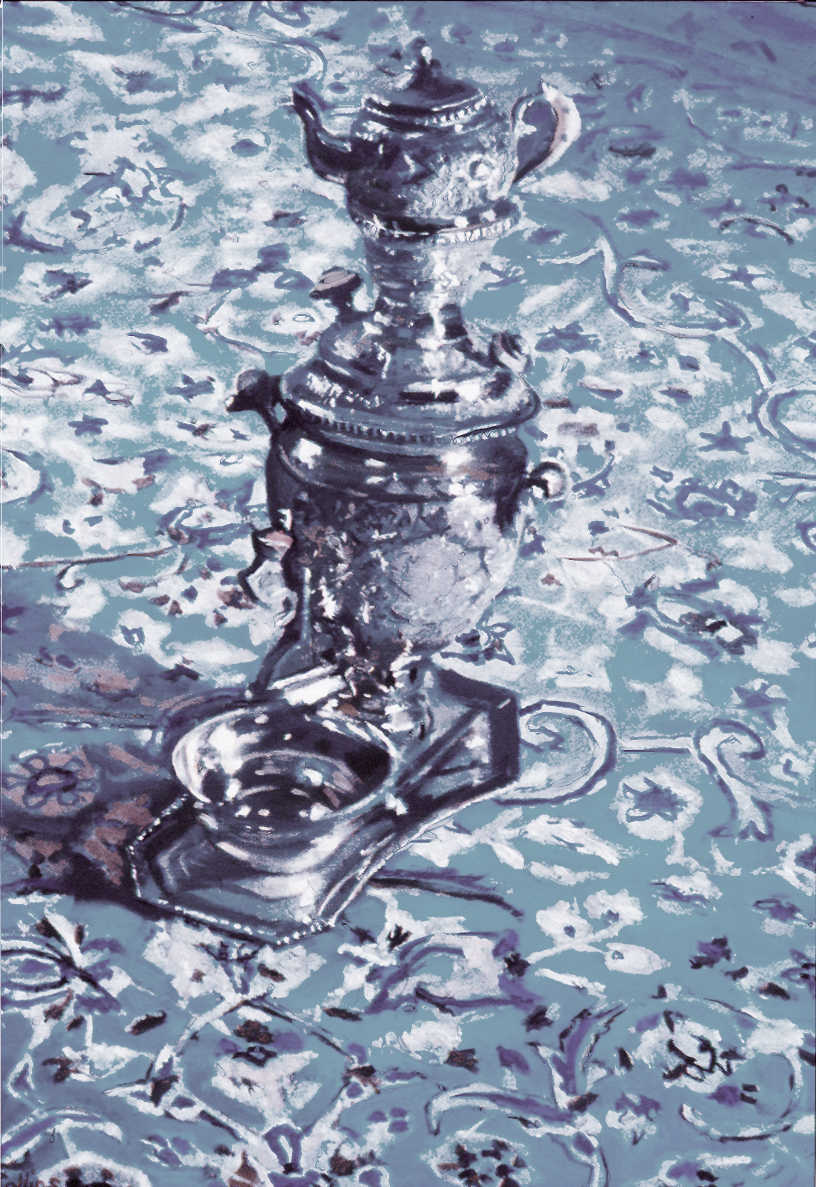 I painted this silver samovar on a trip to Jeddah in Saudi Arabia when in just two weeks I painted fourteen still lives of indigenous artefacts. I was surprised but considered it a compliment, when I got back to England,to be asked what kind of metallic paint I had used for the silver. It is all a finely balanced range of different greys and whites.