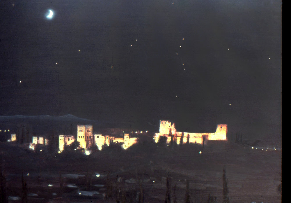 Crescent moon over the Alhambra
