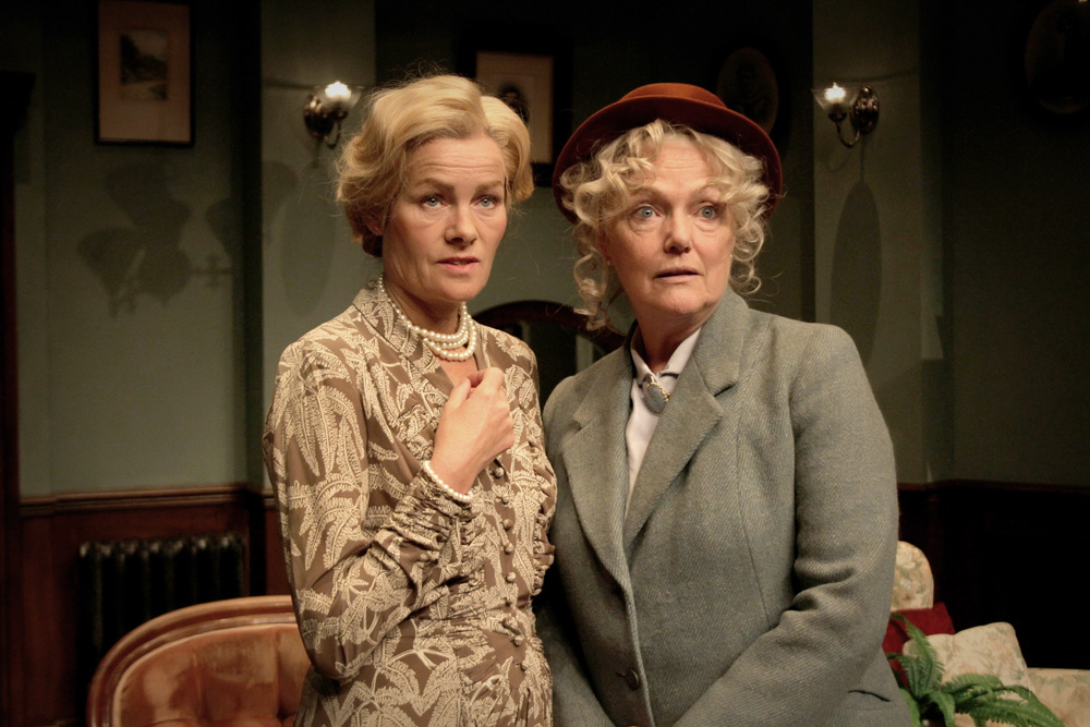 Janet Dibley and Louise Jameson (Miss Marple) in A Murder Is Announced.jpg