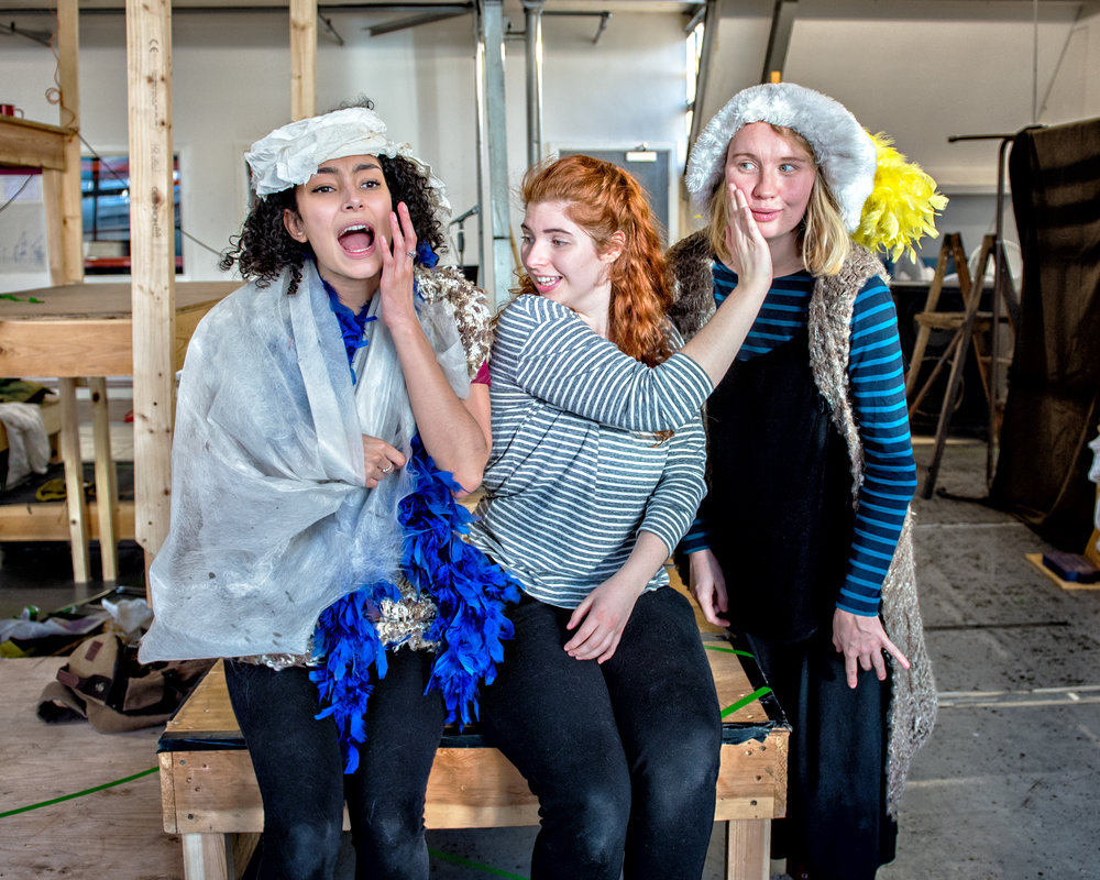 Riana Duce, Emily Goldie and Lucy Bairstow in Crumble's Search for Christmas. Photography by Anthony Robling.jpg