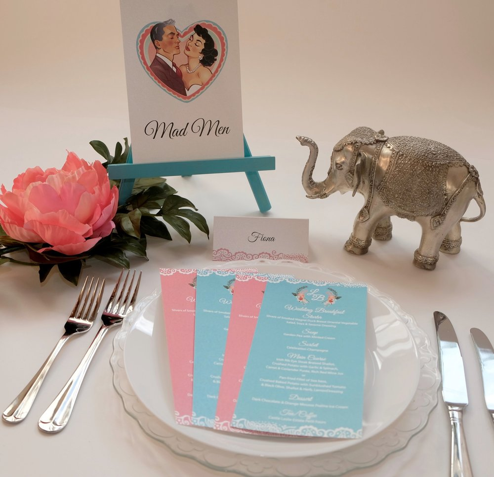 Perfect Moments LB Menu Cards, Tablenames