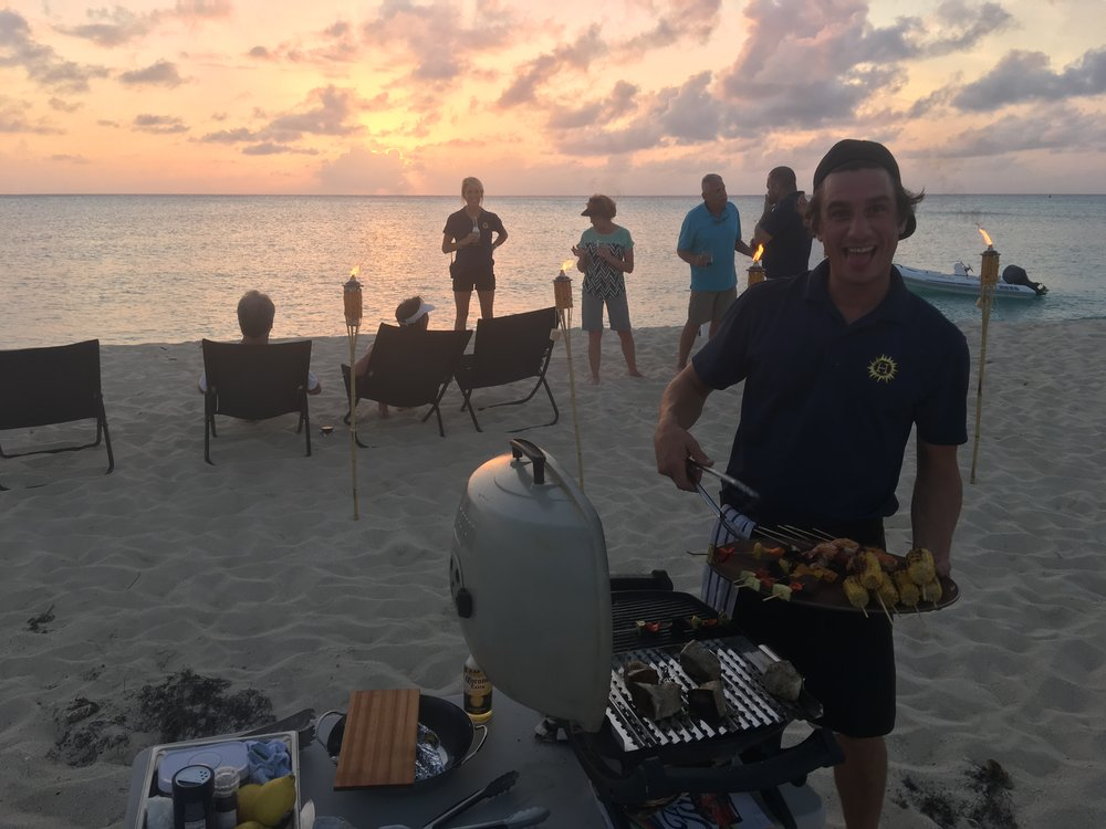 Beach BBQ with charter guests in the Bahamas