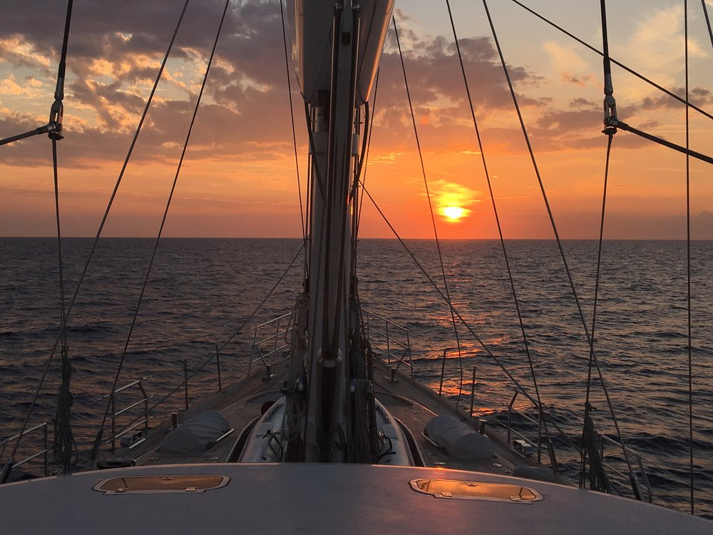 Capturing a beautiful sunset on the bow