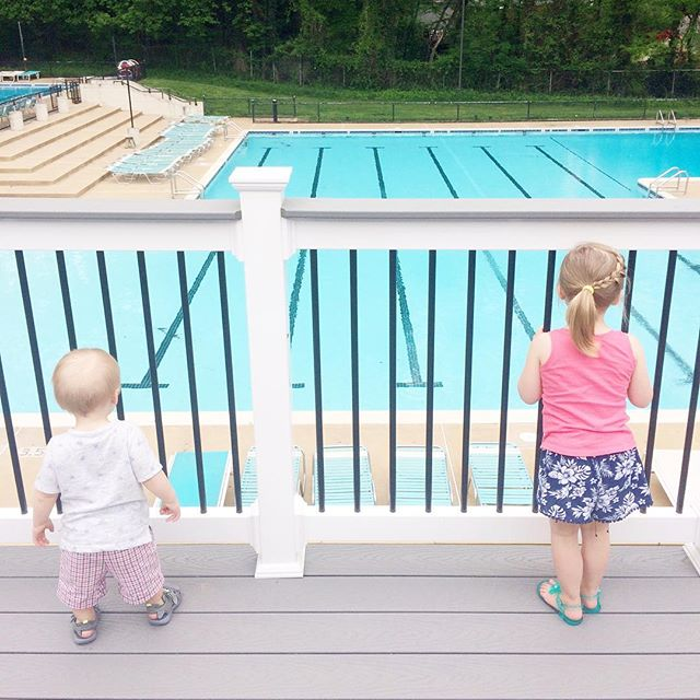 Longingly waiting for the pool to open. Picked up our passes & checked out our favorite place. And Chase didn't even try to leap over the railing and jump in!