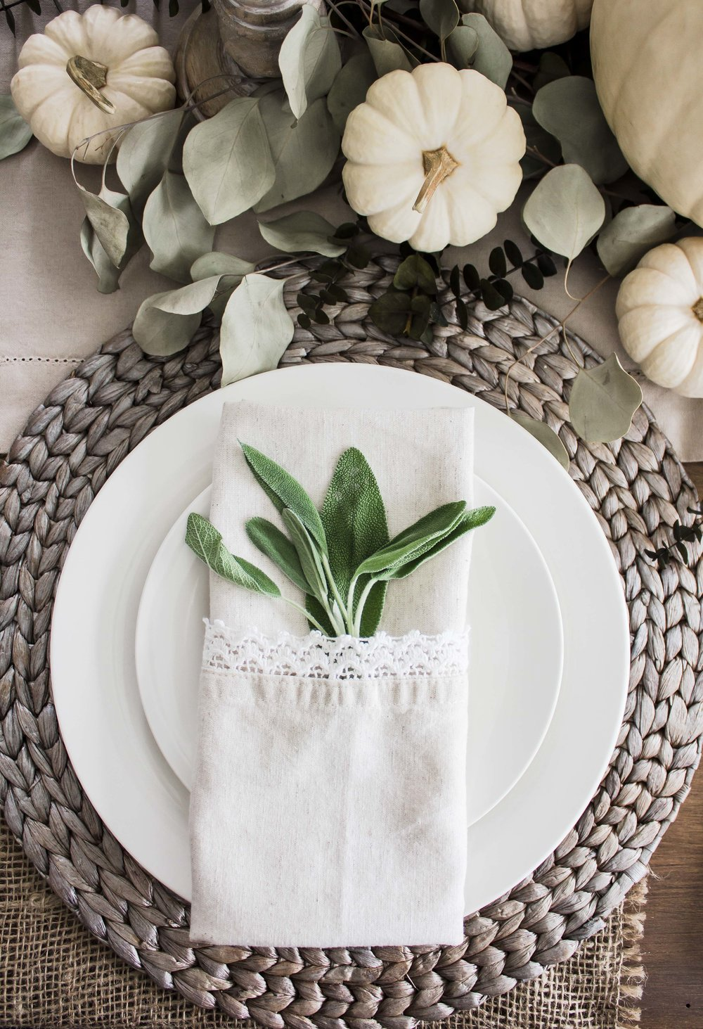 Braided charger:  Pier1  | White dishes: Atlantic Superstore | Linen Napkins:  Pier1